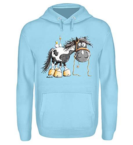 Happy Pinto Pferd Comic I Schecke Tinker I Modartis Pferde I Pony I Reiter Geschenk - Unisex Kapuzenpullover Hoodie -M-Sky Blue