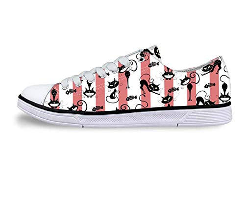 Cat Print Women Canvas Shoes Girls School Wear Lace Up Pumps Casual Plimsolls with pink UK 2