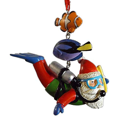 On Holiday Scuba Santa with Air Tank, Fins, Goggles, Snorkle, Fish Christmas Tree Ornament