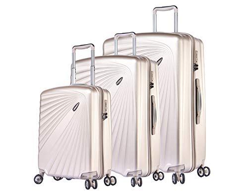 Verage Kinetic Leichter Hartschalen-Kofferset mit TSA 4 Doppel-Rollen, ABS/PC Trolley 3 teilig S-M-L (Metallic Champagner), mit Sicherheits-Reißverschluss