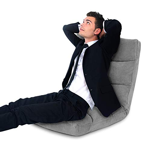 COSTWAY Bodenstuhl verstellbar, Bodensessel gepolstert, Bodenkissen mit Rückenlehne, Meditationsstuhl Fensterstuhl (grau)