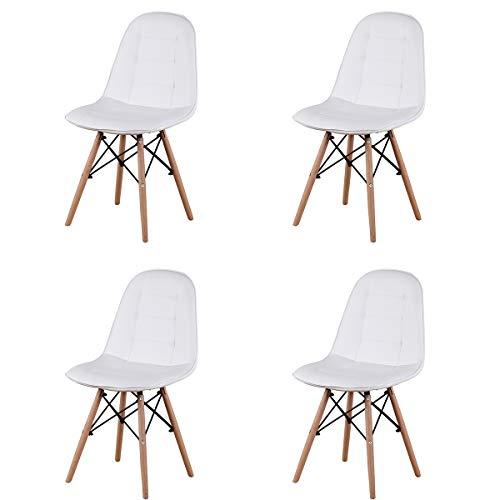 GroBKau Juego de 4 sillas de comedor tapizadas de piel sintética, asiento y respaldo tapizados, est