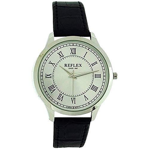 Reflex analoge Herren Armbanduhr, Silber Zifferbl. & schwarzes PU Band REF0019