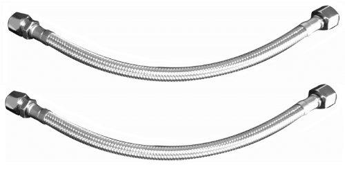 Sanifri 470010172 Flexschlauch 300 mm, DIN DVGW, KTWA, PEX, Trinkwasser DN8, Innengewinde 3/8 Zoll und Quetsche 3/8 Zoll x 10 mm, 2-er Set