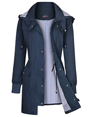 Bloggerlove - Chubasquero para mujer, impermeable, ligero, con capucha, S-XXL, Azul marino, S