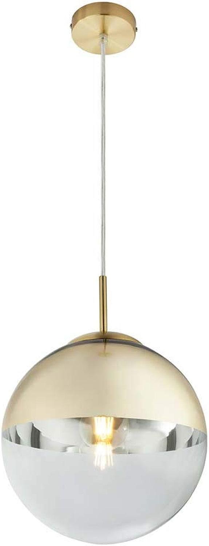 Plafonnier suspendu Chambre à coucher avec lampe à suspension en verre et or avec lampes LED