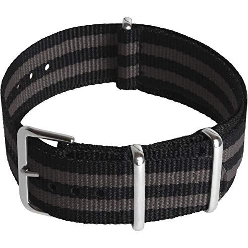 CampTeck U7077 - Nylon Ersatz Uhrenarmband Militär Uhrband (Breite 18|20|22|24mm) mit Verschlussschnalle aus rostfreiem Stahl für Spring Bar Uhren - Schwarze & Graue Streifen - 22mm