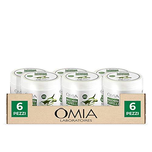 Omia, Maschera Capelli Ristrutturante Aloe Vera per Capelli Secchi e Crespi - 6 Confezioni da 250 ml