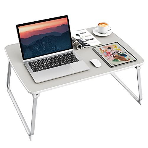 Laptop Tisch fürs Bett,SAIJI Tragbar Laptoptisch Faltbare Notebooktisch Betttisch Lapdesks Tischplatte aus PVC-Leder, Kompatibel mit Laptops bis zu 17 Zoll für Sofa Fußboden Bett