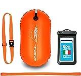 LimitlessXme Boa Gonfiabile per Nuoto Arancio e Custodia per Il Cellulare – Sicurezza Durante Il Nuoto, in acque libere e per Il Triathlon. Boa Galleggiante, Swim Buoy Bubble