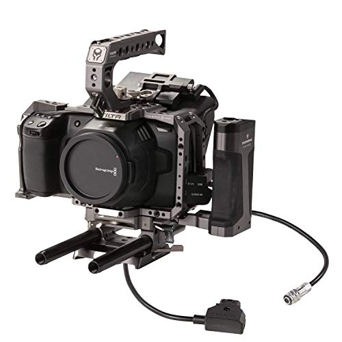 Tiltaing Camera Rig for BMPCC 4K/6K Advanced Kit with PTAP to 2-Pin Power Cable to Connect Your Camera to a Gold Mount or V-Mount Battery