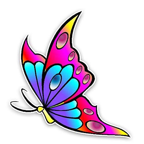 GQQ Autosticker, 12,6 cm 13,3 cm, mooie cartoon vlinder, gekleurd PVC, hoge kwaliteit, bumper, raamdecoratie 2 stuks.