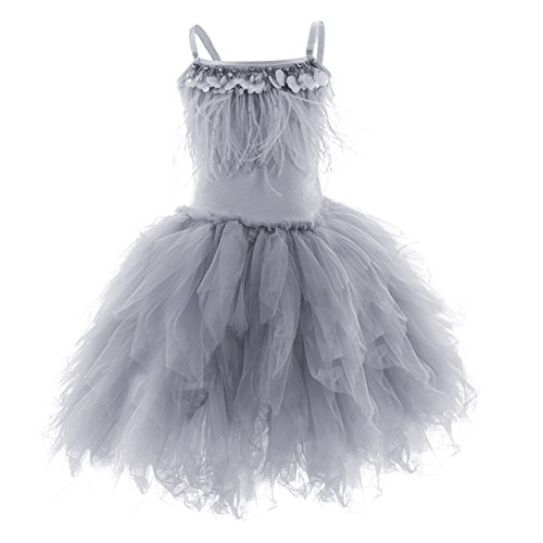Kids Girls Spaghetti Strap Lace Feather Fringes Tutu Tulle Swan Princess Dress Ruffles Backless Ballet Leotard Dance Skirted Pageant Party Wedding Formal Birthday Cake Short Tiered Gown Grey 6-7