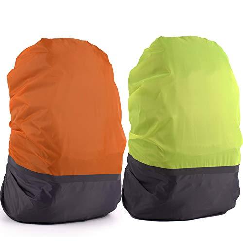 LEZED Regenhülle Rucksack wasserdichte Cover Regenschutz Schulranzen Sicherheitshülle Regenüberzug mit Reflexstreifen 30-40L für Wandern Camping Radfahren 2 Stück