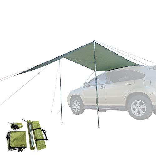 Toldo impermeable de tienda de campaña para el lado del coche (2 m, verde militar)