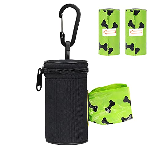Dispenser di sacchetti per rifiuti per cani con moschettone, 2 sacchetti per rifiuti per cani in rotolo inclusi, porta sacchetti cane, Dispenser per sacchetti per escrementi di cane