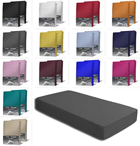 one-home 2er Set Jersey Spannbettlaken Spannbetttuch weiche Baumwolle mit Rundumgummizug, Farbe: Anthrazit, Maße: 2er Pack 90-100 x 200 cm