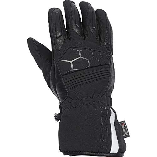 FLM Motorradhandschuhe lang Motorrad Handschuh Touren Leder-/Textilhandschuh 2.0, wasserdicht, winddicht, atmungsaktiv, vorgekrümmte Finger, Weitenverstellung, Schwarz, 11