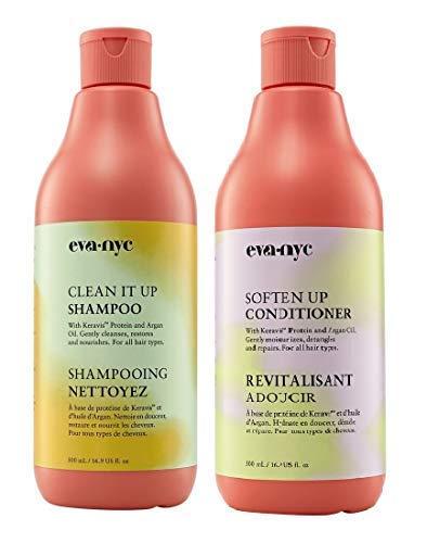 Eva NYC Clean It Up Shampoo & Soften Up Conditioner Set, 16.9 Fl Oz Each