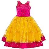 Stanwells Kids Yellow And Magenta Combo South Indian Baby Girls Mirror Work Net Lehenga Choli Set (5-6 years)