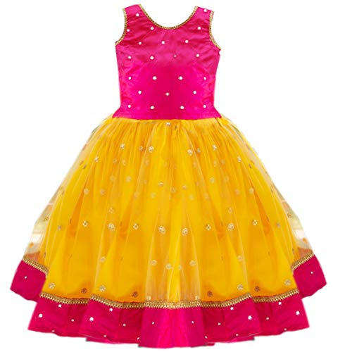 Stanwells Kids Baby Girl's Net Readymade Lehenga Choli (AM029A-24_Rani Pink_5-6 Years)