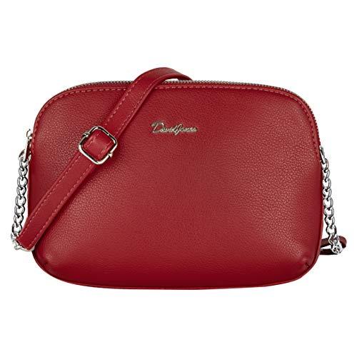 David Jones - Damen Mittelgroße Umhängetasche Viele Fächer Taschen - Frauen Schultertasche Reißverschluss PU Leder - Einfach Handtasche - Messenger Crossbody Bag Citytasche Praktisch Mode - Rot