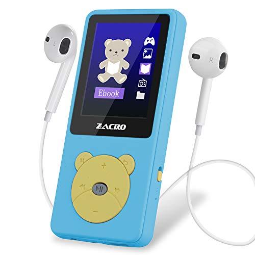"""Zacro MP3 Player Kinder mit kopfhörer 1,8\"""" Bildschirm unterstützt UKW Radio Spiele Schlaftimer und Sprachaufnahme mit der Englische und deutsche Bedienungsanleitung"""
