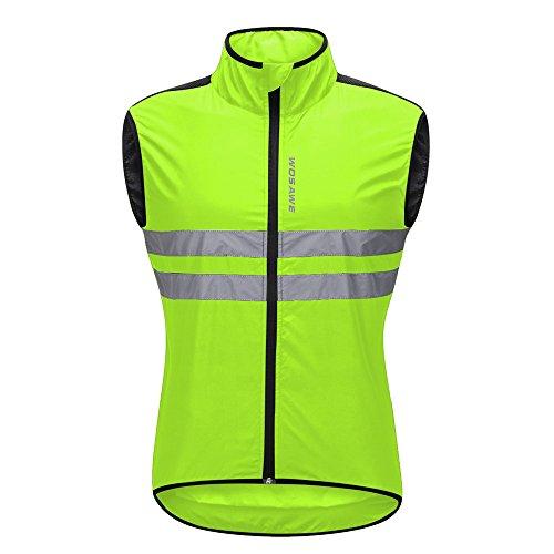 WOSAWE Hombres Ropa Ciclismo, Transpirable Chaqueta de Ciclismo Cortavientos Alta Visivilidad Chaleco Reflectante de MTB (BL205 Chaleco Verde M)