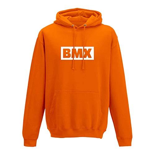 Hoodie BMX Schriftzug Box Logo Bicycle Motocross Jumps 13 Farben Herren XS - 5XL Bike Extreme Sport Freestyle Skatepark Olympia, Größe:XS, Farbe:orange - Logo Weiss