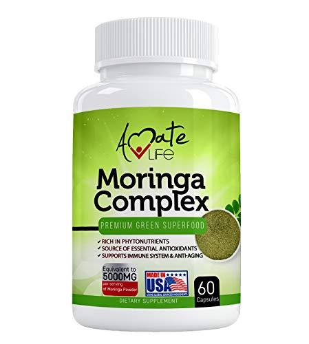 Moringa Capsules Equiv to 5000 mg Moringa Powder - Immune Support Green Superfood Moringa Oleifera Pills Rich Antioxidant Properties Vegan Friendly Anti Aging Support - 60 Capsules by Amate Life