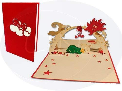 LIN-POP UP 3D Grußkarten Glückwunschkarten Geburtskarten Baby im Schlaf, rot