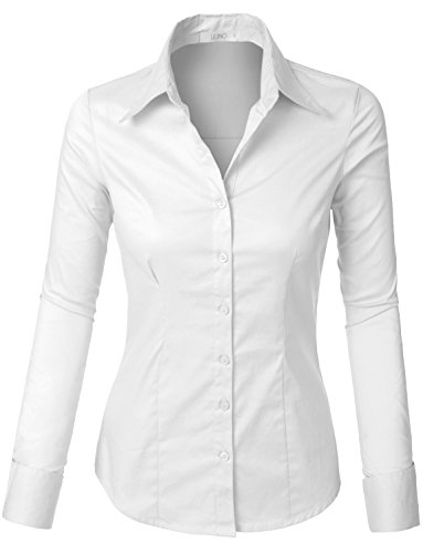 LE3NO Womens Lightweight Button Down Shirt with Stretch, White, XX-Large