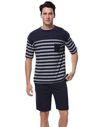 Aibrou Herren Schlafanzug Pyjama Baumwolle Kurz Gestreift Frühling/Sommer Nachtwäsche Kurzarm Rundhals Blau M