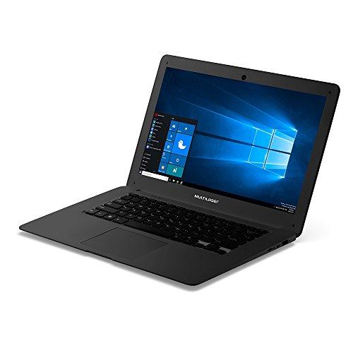 "Notebook Legacy com licença perpétua Microsoft Office, Intel Quad Core Atom Z8350, RAM 2GB, 64GB (32+32SD) , Tela de 14"" HD Windows 10, Preto, Multilaser - PC107"
