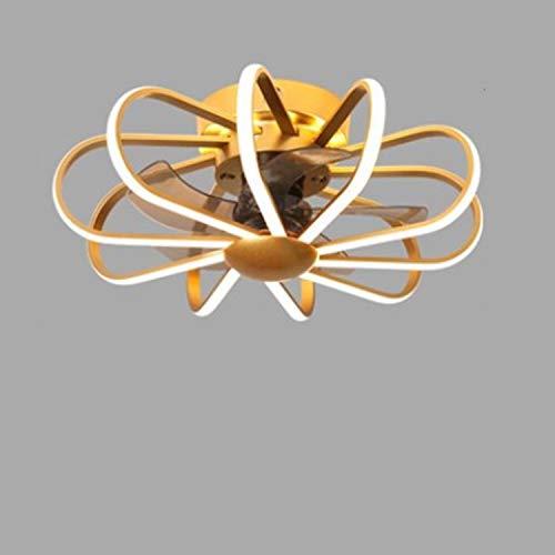 Ventilador De Techo LED Para Habitaciones Infantiles Con Iluminación Y Control Remoto, Plafón Regulable Moderno 3 Velocidades Regulable Para Dormitorio, Lámpara De Techo Ventilador,Oro