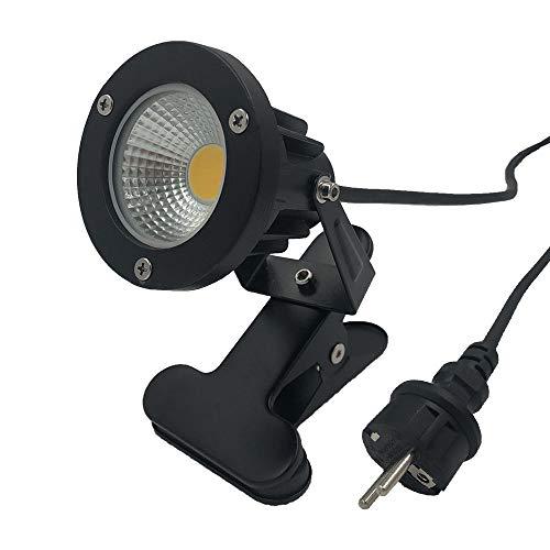7W LED Strahler Warmweiß 2700K mit Clip, 2m Kabel mit Stecker, Led Garten Beleuchtung, Gartenleuchte Gartenstrahler Rasenstrahler IP65 Wasserdicht für Outdoor Hof Rasen (Clip-Warmweiß)