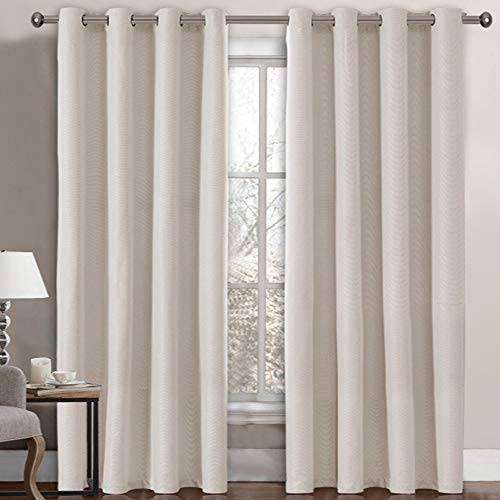 Linen Blackout Curtain 96 Inches Long for Bedroom / Living Room Thermal Insulated Grommet Linen Look Curtain Drapes Primitive Textured Burlab Effect Window Drapes 1 Panel - Ivory