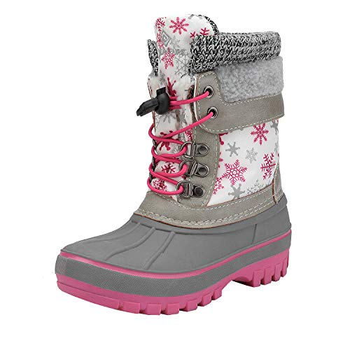 DREAM PAIRS Boys Girls Cold Weather Insulated Waterproof Winter Snow Boots Size 6 M US Big Kid KMONTE-1 White Fuchsia