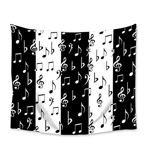 Arazzo by BD-Boombdl Tema musicale a righe in bianco e nero con tasti di pianoforte arazzo spartiti appesi arazzo per camera da letto in stoffa 59.05'x78.74'Inch(150x200 Cm)