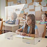 6 Packungen Faltbar Spuckschutz Schutzwand Schutzscheibe-3-seitiger Spuckschutz Thekenaufsatz, Durchsichtig Spuckschutz Niesschutz,Schreibtischteiler für Schreibtisch(60×60×44CM)
