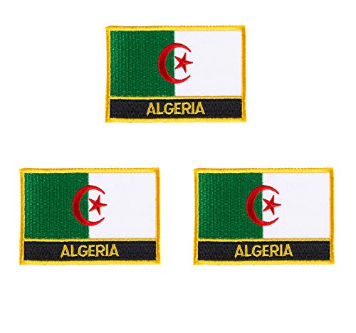 Aufnäher, bestickt, Algerien, Flagge, Emblem, zum Aufbügeln oder Aufnähen, 3 Stück