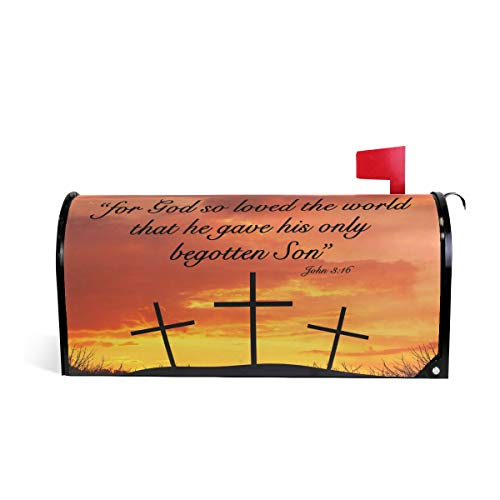 """ALAZA WOOR Christian Motivational Quote Crosses Magnetic Mailbox Cover MailWraps Garden Yard Home Decor for Outside Standard Size-18""""x 20.8"""""""