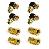 Connettore F 7 mm avvitabile | dorato | Guarnizione in gomma | dado largo | per cavo antenna coassiale | cavo satellitare | impianti BK | LNB satellitare 4x Set angolare F