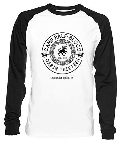 Cabin Thirteen - Hades - Percy Jackson - Camp Half-Blood Uomo Donna Unisex Maglietta da Baseball Bianca Nera Women's Men's T-Shirt