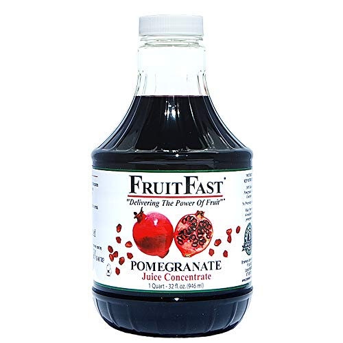 100% Pure Pomegranate Juice Concentrate by FruitFast - Brownwood Acres   Unsweetened, Non-GMO, Gluten and BPA Free, Kosher Certified Fruit Juice Concentrate - Promote Healthy Heart Function (32 Ounce)