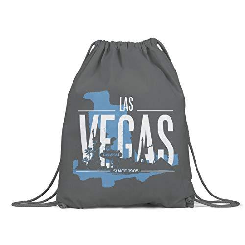 BLAK TEE Las Vegas USA Skyline Organic Cotton Drawstring Gym Bag Grigio