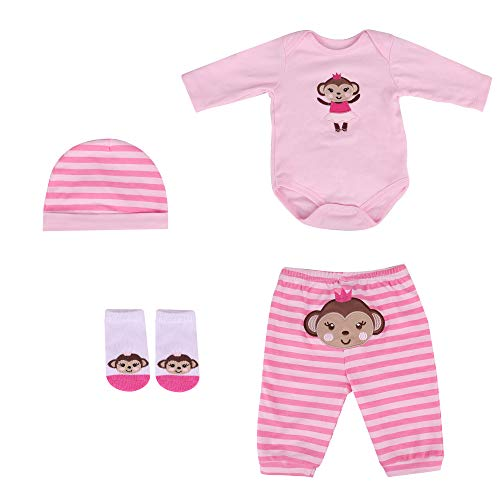 Kaydora Reborn Baby Doll Clothes,Suitable for 20-22 Inch Baby Doll Girl or Boy, 4 Pieces Suit