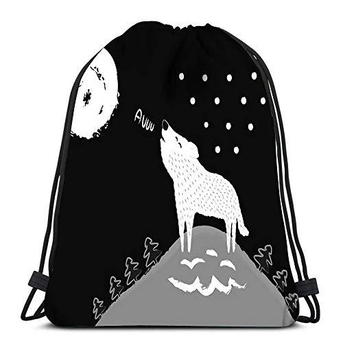 JHUIK bolso con cordón mochila escolar mochilaMochila con cordón, mochila para gimnasia de yoga, bolsos de bolsos Cinch, bolsos de hombro plegables, bolsos de cordones, bolso deportivo Cinch Lobo blan