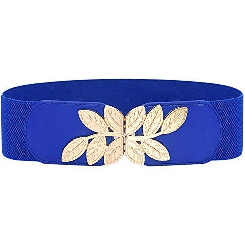 ALAIX Women's Stretchy Belt for Dresses Jumpsuit Coat Belt Vintage Elastic Wide Leaf Waist Belt Waistband Blue-S