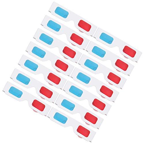 SOLUSTRE 100 gafas 3D rojas y azules de papel de anaglifa, gafas rojas, azules y blancas, marco de cartón de anaglifa, gafas de cartón 3D para niños y adultos